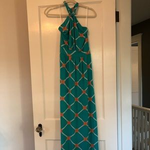 Maxi dress with nautical design